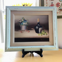 "Signed 8"" x 10"" Still Life Painting in Distressed 12"" x 14"" Frame, Small Vintage Floral Still Life Painting, Framed Acrylic Painting"
