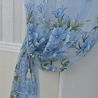 6 Colors Curtains Modern Floral Tulle Curtains