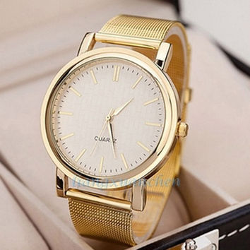 2015 new fashion  hot sale  gift Exquisite Women's Quartz Wrist watch Gold Mesh Band Watches = 1956979716