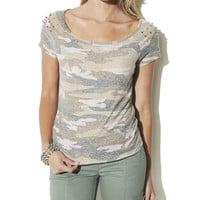 Camo Print Stud Tee | Shop Sale at Wet Seal