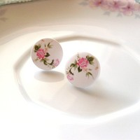 French Roses - Floral Stud Earrings - Flowers Green Pink Blush White - Cute Adorable Elegant Romantic - Whimsical - Dreamy - Summer Fashion