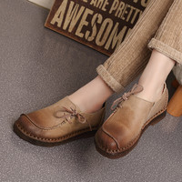 2016 Spring Handmade vintage women's shoes genuine leather female moccasins loafers soft cow muscle outsole casual shoes flats
