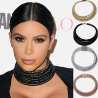 Maxi Chokers Magnet Button Multilayer Coiled Choker Necklace Kim Kardashian Statement Necklace Women Collar