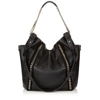Black Soft Calf Leather and Suede with Chains Shoulder Bag   Anna   Autumn Winter 15   JIMMY CHOO Bags