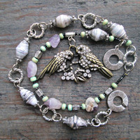 Boho Bird Necklace, Bohemian Bird Necklace, Assemblage Necklace, Healing Crystals and Stones, Boho Chic Jewelry, Spring Necklace