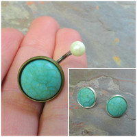 Gift Set - Turquoise Gemstone Belly Button Ring and Post Earrings