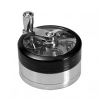 Aluminum Window Crank Herb Grinder - Silver and Black - 3-part - Herb Grinders - Smoking Accessories - Grasscity.com
