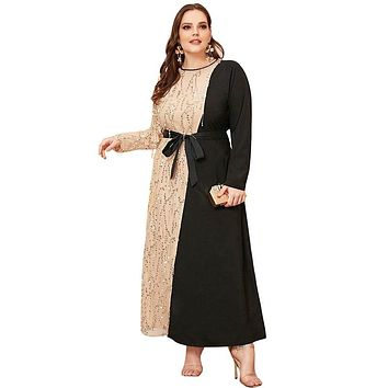 Patchwork Elegant Long Sleeve Party Dress