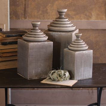 Set Of 3 Grey Textured Ceramic Canisters With Pyramid Tops