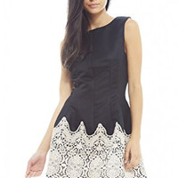 Black Round Neck Crochet Contrast A-Line Dress