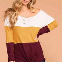 Sabrina Mustard and Burgundy Color Block Waffle Knit Tie-Front Top