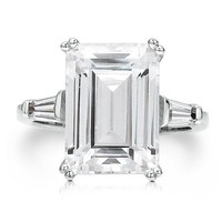 Sterling Silver 925 Huge Emerald Cut Cubic Zirconia Solitaire Ring #r382