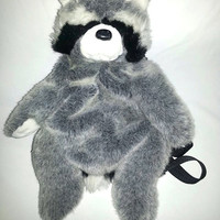 ANIMAL BACKPACK RACCOON Vintage Ajustable Straps Fits Adults Zipper on side Club Kid Hipster Seapunk Soft Grunge Bag
