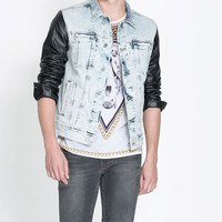 BLEACHED DENIM JACKET WITH FAUX LEAVER SLEEVES - Coats and Jackets - Man   ZARA Israel
