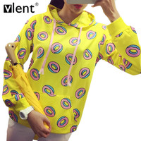 Vlent Bts Kpop Cute Donuts Printed Hoodies Pocket Patch Long Sleeve Hoody Pull Sweatshirt Women Winter Fashion Femme Tracksuit