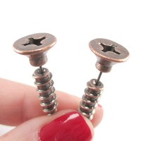 Fake Gauge Earrings: Realistic Screw Shaped Faux Plug Stud Earrings in Copper