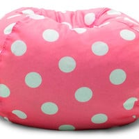 """Classic 88"""" Candy Pink W/White Dots Bean Bag"""
