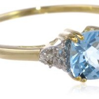 10k Gold, December Birthstone, Blue Topaz and Diamond Ring