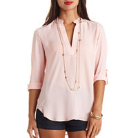 SHEER V-NECK PULLOVER BLOUSE