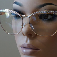 "Rhinestones ""Miss Sexy Sparkle"" Clear Lens Eyeglasses Women Cateye Glasses"