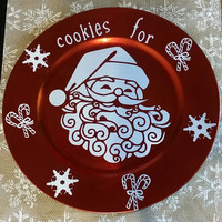 Cookies for Santa Charger - Plate - Christmas Plate and Decoration - Santa Holiday Decor and Kitchen
