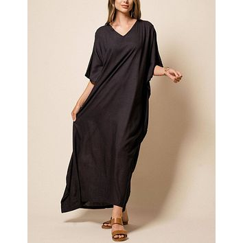 Zuri Full Kaftan - Black