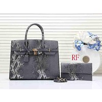 Hermes Women Fashion Leather Handbag Shoulder Bag Satchel Set Two Piece