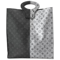 Louis Vuitton Leather Two Tone Monogram Men's Women Top Handle Carryall Tote Bag