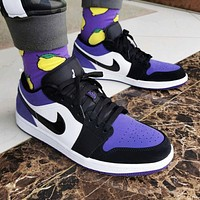 Air Jordan 1 Low Classic Women Men Casual Sport Shoes Basketball Sneakers White&Black&Purple