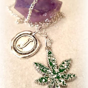Personalized Weed Necklace,Cannabis 420 Marijuana Jewelry,Bohochic,Hippie Rocker Hipster,Festival,Pot Jewelry,Ready 2 Ship,Direct Checkout