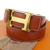 Auth HERMES Constance H Buckle Reversible Belt Leather Gold Brown #65 39BA989
