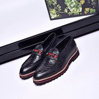 Ready Stock Gucci Men's Leather Fashion Sneakers Shoes #585