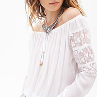 FOREVER 21 Crochet-Paneled Peasant Top White