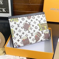 LV Louis Vuitton cartoon printed letter cosmetic bag clutch briefcase