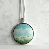 Landscape Necklace, Blue Sky, Meadow, Miniature Painting Pendant Hand Painted Jewelry Bezel Necklace Charm Handmade Necklace by Artdora