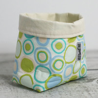 Small Fabric Storage Basket In Circle Pattern. Fabric Pouch.