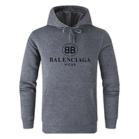 Balenciaga New fashion bust letter print couple hooded long sleeve sweater Gray&Black Letter