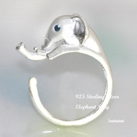 Sterling Silver Elephant Ring(2color)/Animal Jewelry/Antique ring/Adjustable