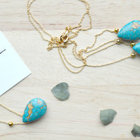 Turquoise Teardrop Pendant, Turquoise and Gold Necklace