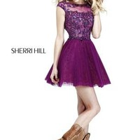 Prom Dresses 2014 - Sherri Hill 21032 Cap Sleeves Short