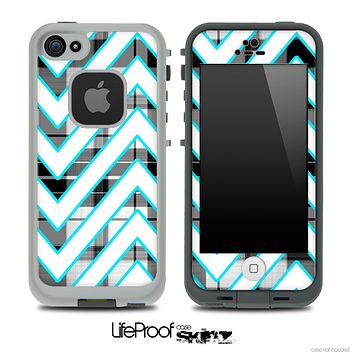 Large Chevron and Black Plaid Striped Skin for the iPhone 5 or 4/4s LifeProof Case