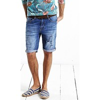 New Arrival Men Clothing Denim Shorts Slim Fit Hole Jeans Shorts For Man Plus Size