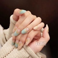 Glitter Gold French Fake Nails V Shape Pattern False Nails Blue Green Full Cover Nail Tips DIY Nail Tools 24Pcs Z499