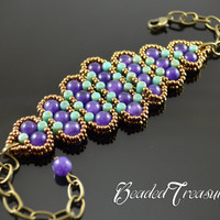 "Beaded bracelet pattern with Rulla - ""History"" / BEADING TUTORIAL ONLY"