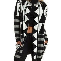 Black/White Geometric Duster Sweater Coat by Charlotte Russe