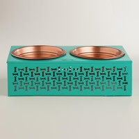 Blue Elevated Double Pet Feeder