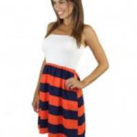Game Day Strapless Striped Short Dress - Orange And Navy
