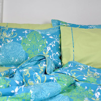 Floral Damask Print Bedding Set in Ocean Blue, Turquoise, Lime Green for Queen or Full Size - Duvet Cover, Flat Sheet, Shams & Pillow Cases