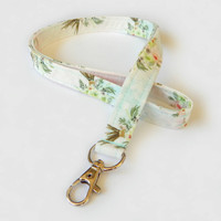 Boho Floral Lanyard / Bouquets of Flowers / Girly Keychain / Pretty Lanyard / Key Lanyard / ID Badge Holder / Fabric Lanyard / Bohemian