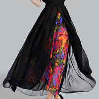 Floral Printed V-Neck Double Layered Chiffon Dress